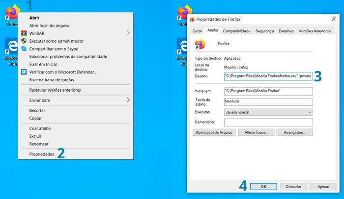Como iniciar o Mozilla Firefox no modo privado