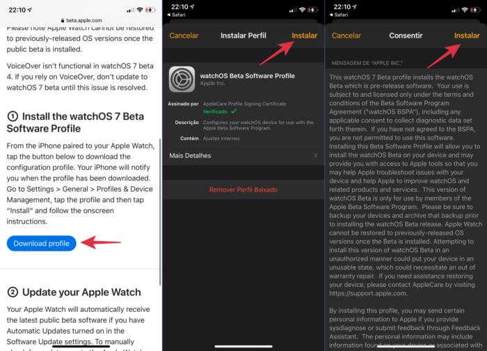 instalar beta público do watchOS 7