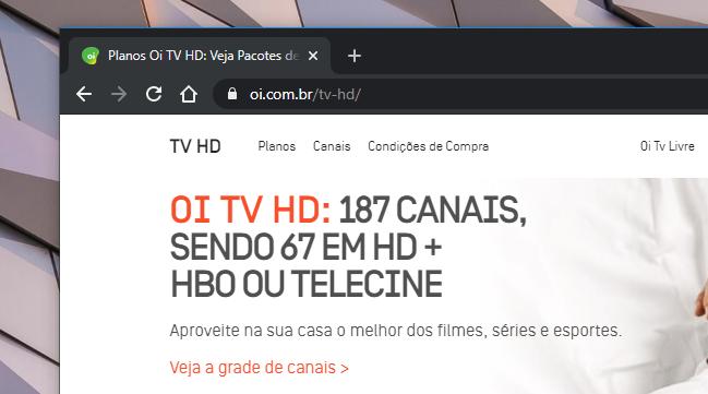Site da Oi TV