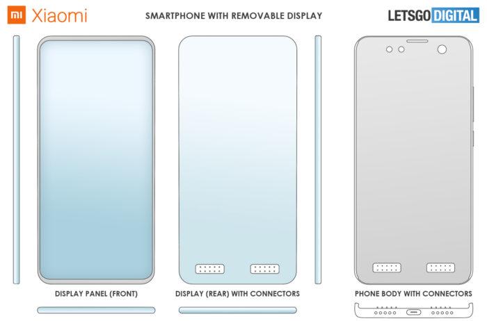 Patente da Xiaomi prevê tela destacável que pode ser utilizada separadamente (Foto: Reprodução/LetsGoDigital)