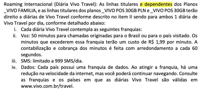 Regulamento do Vivo Família na seção de roaming internacional
