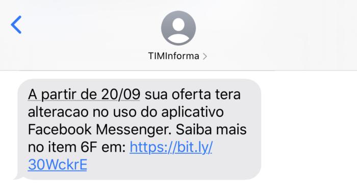 SMS enviado para cliente TIM Pré Turbo alertando mudanças no regulamento