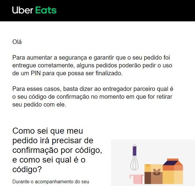Uber Eats - aviso de código PIN