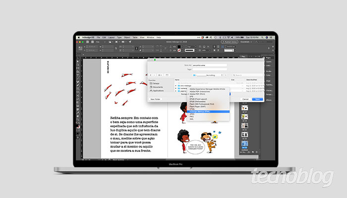 Como salvar arquivos no InDesign em versão anterior