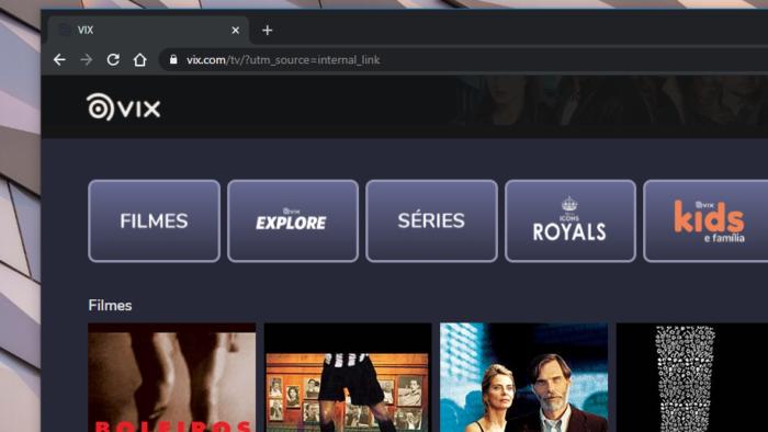 Site do Vix Filmes e TV