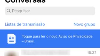 WhatsApp exibe aviso de privacidade sobre LGPD no Brasil