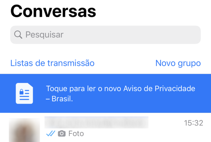 Aviso de privacidade do WhatsApp no iOS