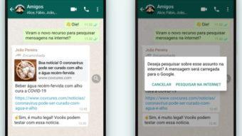 WhatsApp ganha botão Pesquisar para checar fatos no Google