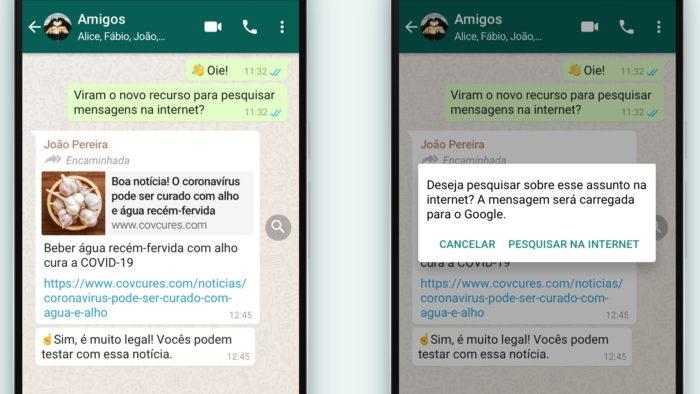 WhatsApp e botão Pesquisar no Google