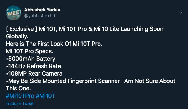 Tweet de Abhishek Yadav sobre o Xiaomi Mi 10T Pro (Foto: Reprodução/Tecnoblog)