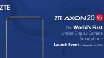 ZTE Axon 20 5G será lançado com câmera frontal abaixo da tela