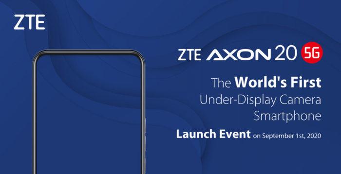ZTE Axon 20 5G será lançado em setembro com câmera frontal abaixo da tela (Foto: Divulgação/ZTE)
