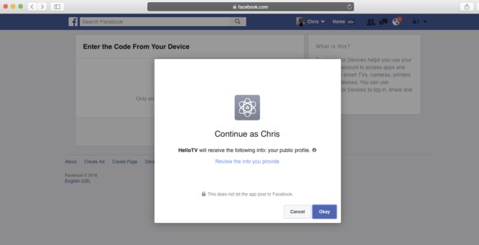 Facebook.com/device / Imagem: Reprodução / Facebook