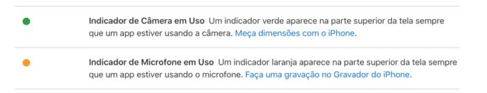 Indicador de Camera e Microfone iOS 14 / Imagem: Divulgação / Apple