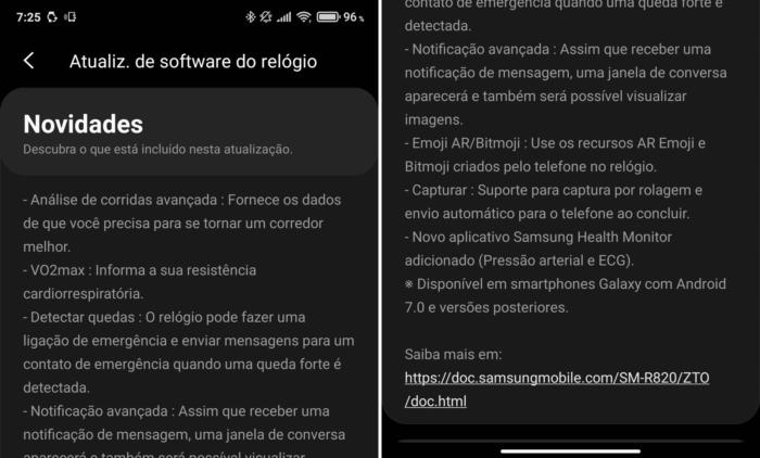 Atualização para Galaxy Watch Active 2