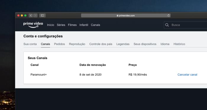 amazon prime video channels cancelamento