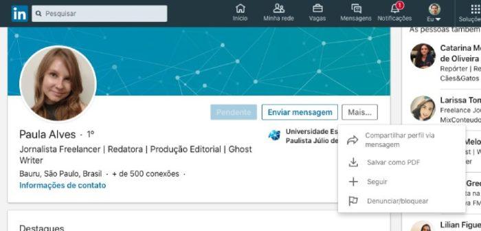 Como bloquear alguém no LinkedIn / Diego Melo / Reprodução