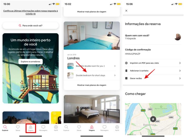 gerar recibo airbnb iOS