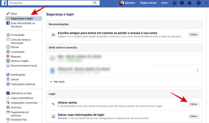 alterar senha do facebook layout antigo/reprodução