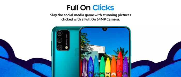 Samsung Galaxy F41 tem câmera tripla de 64 megapixels (Imagem: Reprodução/Flipkart)