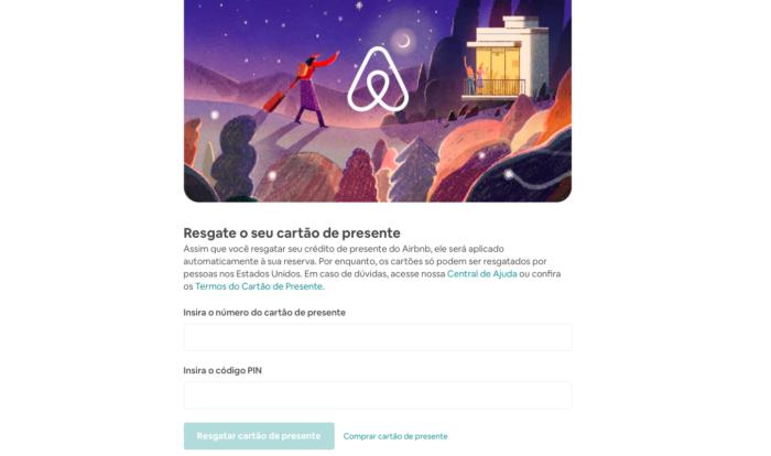 gift card airbnb/reprodução