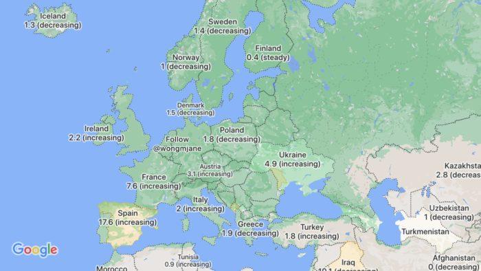 google maps covid-19 europa