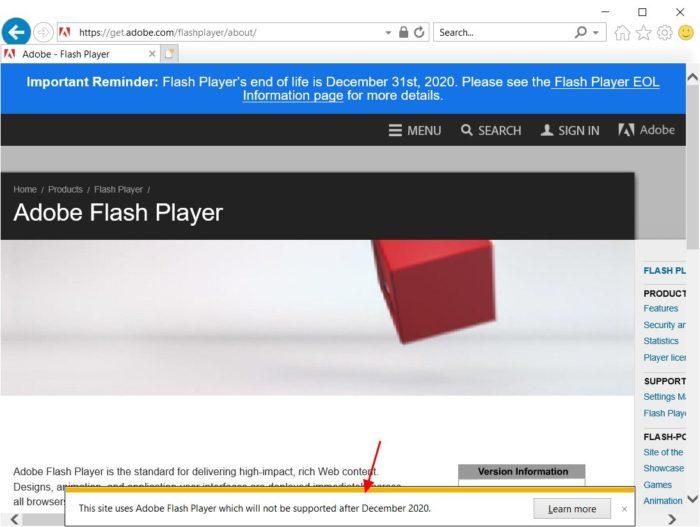 Alerta do Internet Explorer 11 sobre fim do suporte a Adobe Flash Player (Foto: Reprodução/BleepingComputer)