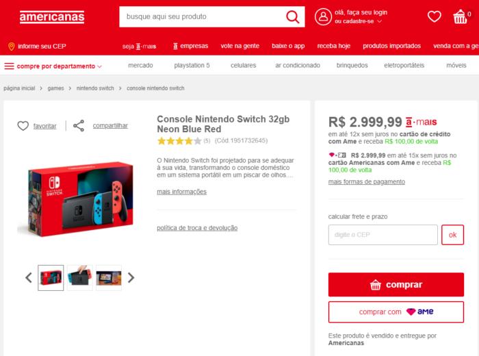 Nintendo Switch nas Lojas Americanas