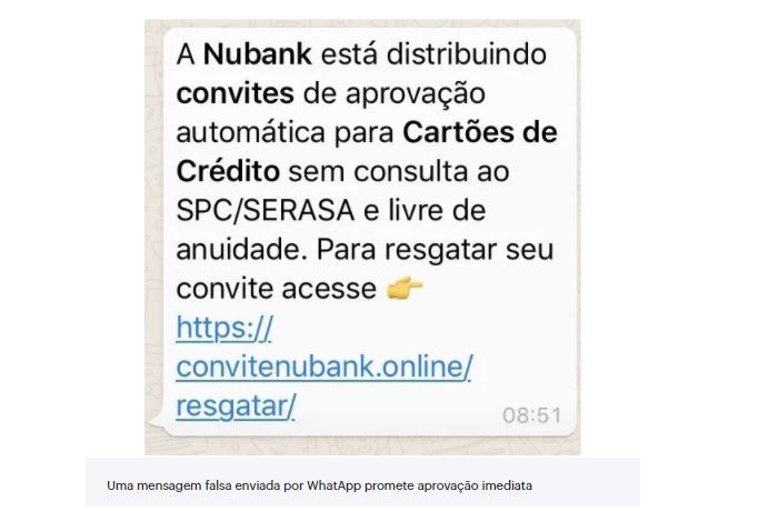 Convite falso para adquirir cartão Nubank/Reprodução
