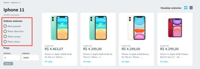 captura de tela da lista de produtos no site Vigia de Preço, para comparar os preços