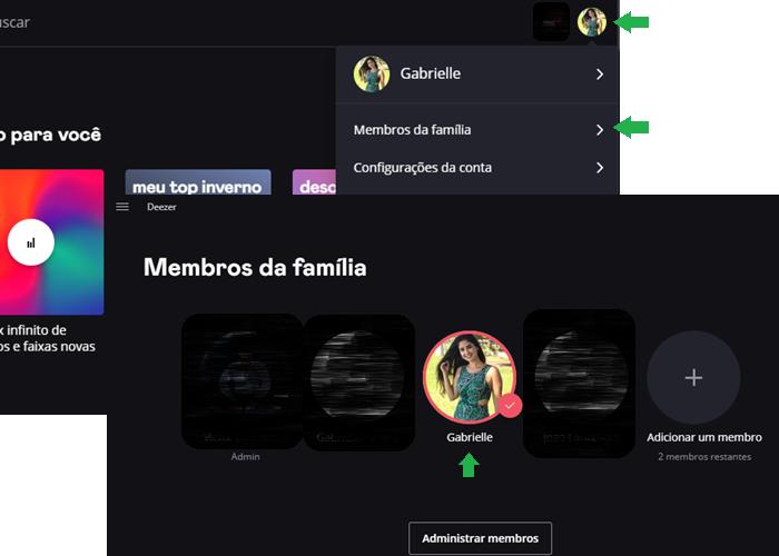 Deezer family: como trocar de perfil/Reprodução/Gabrielle Lancellotti