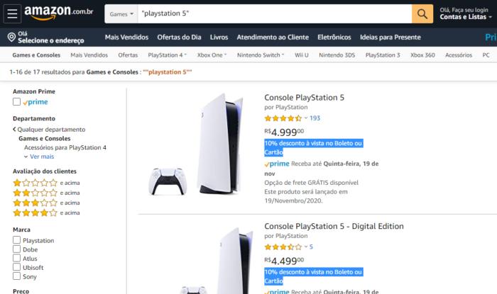 PS5 na Amazon Brasil