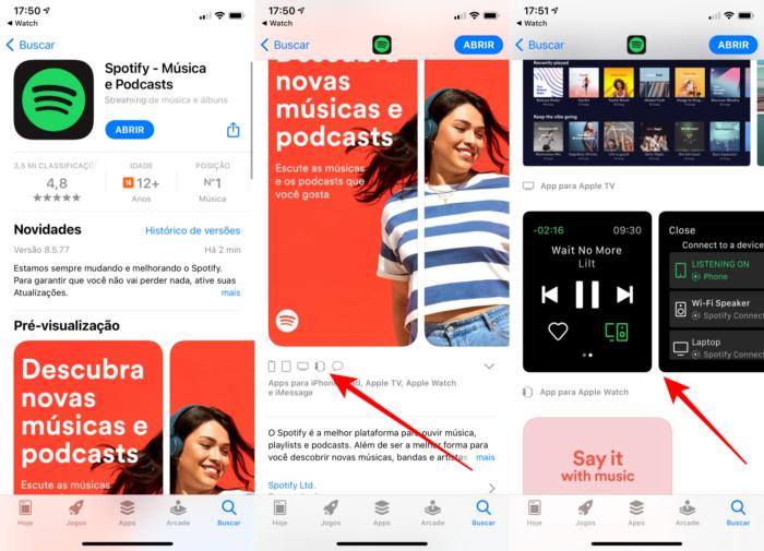 Spotify é um dos aplicativos que tem versão para o Apple Watch