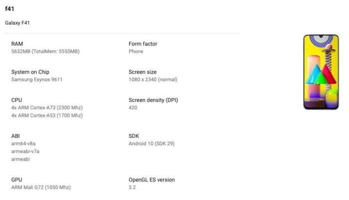 Ficha técnica do Samsung Galaxy F41 aparece no Google Play Console (Foto: Reprodução/91Mobiles)