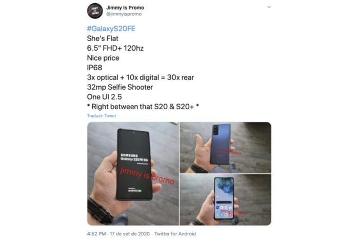 Samsung Galaxy S20 Fan Edition vaza com tela plana e câmera tripla (Foto: Reprodução/Twitter)