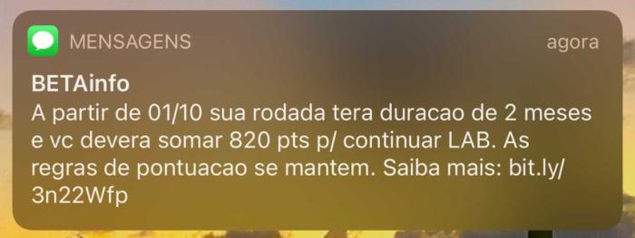 SMS enviada para clientes do TIM Beta