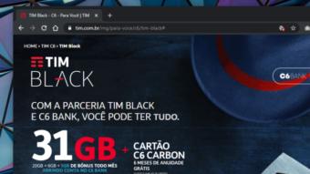 TIM Black tem bônus de até 10 GB em parceria com C6 Bank