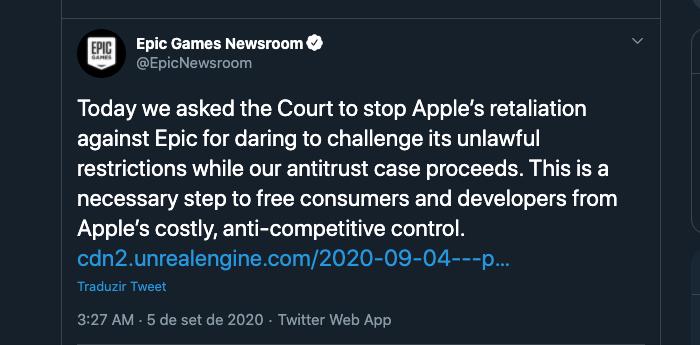 Hoje pedimos ao Tribunal que parasse com a retaliação da Apple contra a Epic por ousar desafiar suas restrições ilegais enquanto nosso caso antitruste prossegue. Este é um passo necessário para libertar consumidores e desenvolvedores do controle anticoncorrencial da Apple.