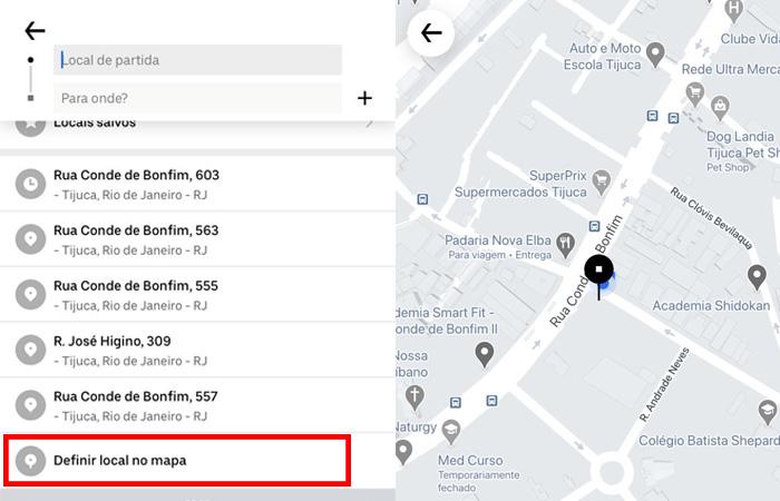 defina o ponto de partida para ter Uber mais barato
