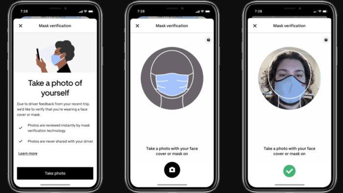 Verificação de máscara da Uber para passageiros