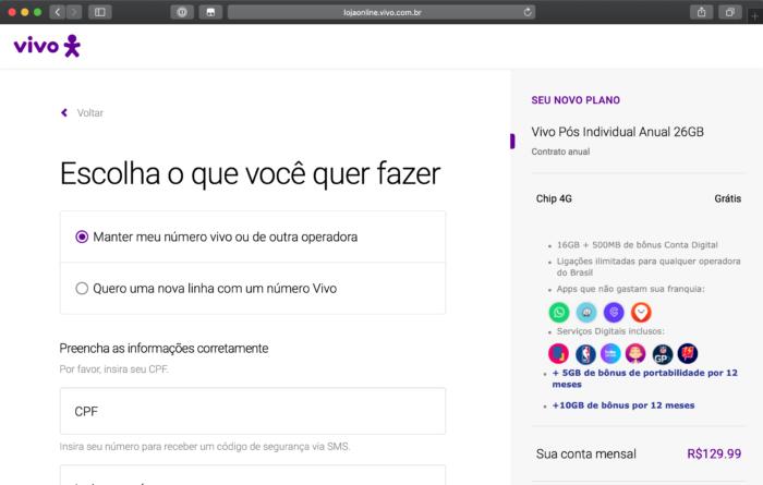 Site da Vivo mostra bônus de portabilidade mesmo para quem já é cliente