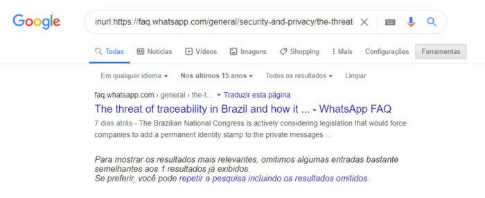 Google indica que WhatsApp publicou página sobre PL das fake news em 23 de setembro