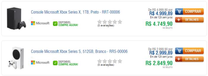 Xbox Series X e S no Kabum