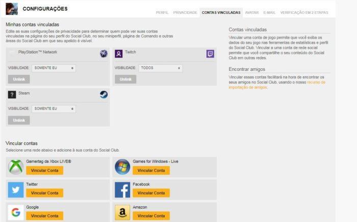 Como desvincular conta Social Club da Steam (Imagem: Reprodução/Rockstar)
