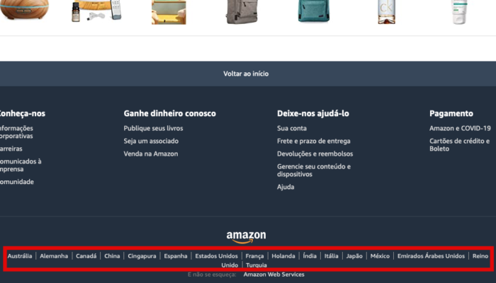 lojas da Amazon em outros países (Imagem:Reprodução/Amazon)