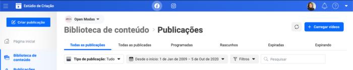 biblioteca de conteúdos facebook