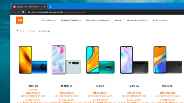 Celulares na loja online da Xiaomi (Imagem: Reprodução/DL)
