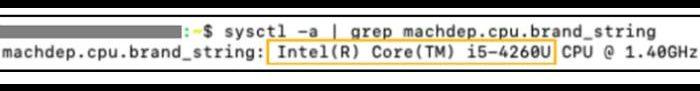 Comando MacOS para informações do processador [Imagem: Intel/divulgação]