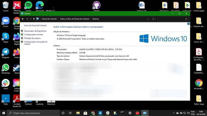 Informações sistema Windows (Imagem: Leandro Kovacs/Tecnoblog)