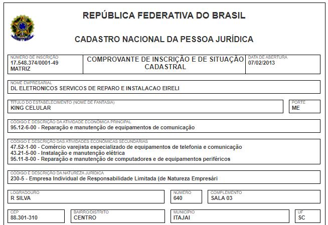 Registro da King Celular na Receita Federal (Imagem: Reprodução/RFB)